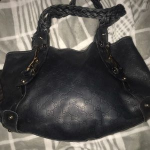 Gucci leather logo tote/shoulder  purse